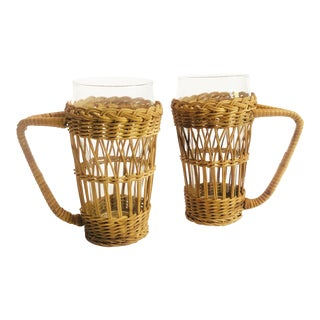 Vintage Tall Glasses in Wicker Holders - Set of 2 For Sale