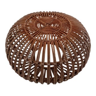 Mid Century Franco Albini Rattan Ottoman Foot Stool- a Remnant/Damaged For Sale