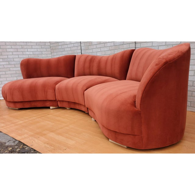 Mid Century Modern Vladimir Kagan for Directional Three Piece Curved Black Sectional Sofa For Sale - Image 4 of 12