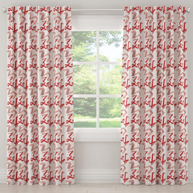 """Textile 96"""" Blackout Curtain in Pink & Red Ribbon by Angela Chrusciaki Blehm for Chairish For Sale - Image 7 of 7"""