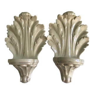 Vintage Iridescent Glazed Wall Sconces Shelving - a Pair For Sale
