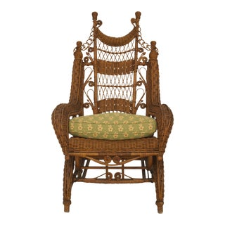 American Victorian Wicker Woven Rocking Chair For Sale
