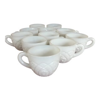 Vintage Milk Glass Cups - Set of 11 For Sale
