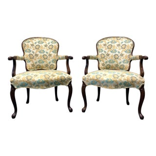 Vintage French Provincial Louis XV Style Fauteuils Open Arm Chairs - Pair For Sale