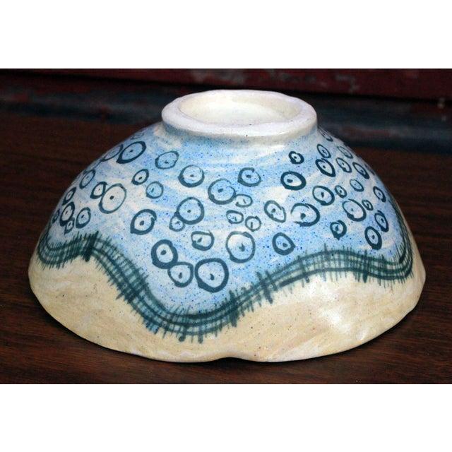 Vintage Marilyn Andrews Massachusetts Folk Art Art Pottery Bowl For Sale - Image 5 of 6