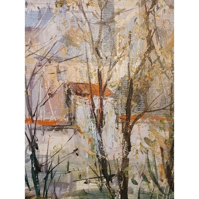 1960s French Impressionist Style Rural Scene Oil Painting by Lucien Delarue, Framed For Sale - Image 4 of 6