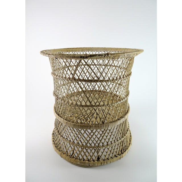 White 20th Century Boho Chic Woven Plant Stand For Sale - Image 8 of 8