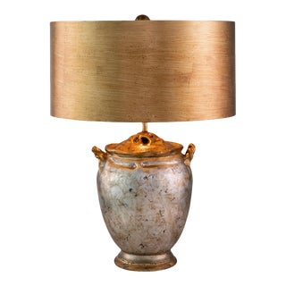 Cleo Table Lamp with Large Drum Shade, Gold and Distressed Silver For Sale