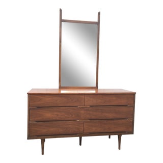 Mid Century Walnut Low 6 Drawer Chest of Drawers & Mirror