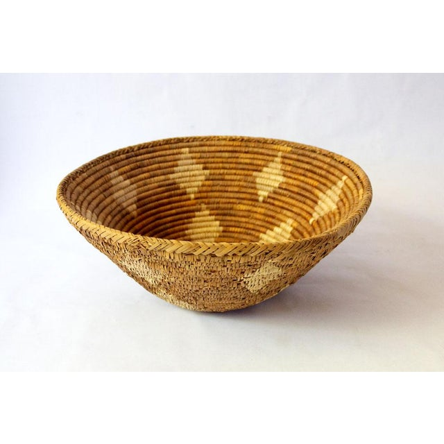 Vintage Mid-Century Hand Woven Diamond Motif Basket For Sale - Image 4 of 4