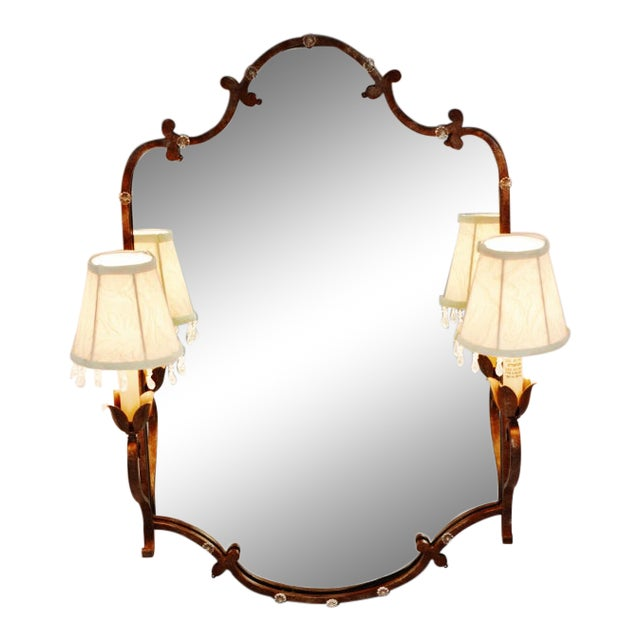 Vintage Tole Style Lighted Wall Mirror For Sale
