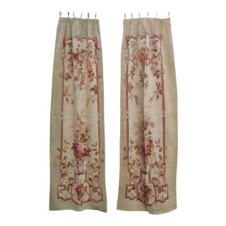 Pair of French Aubusson Tapestry Curtains For Sale