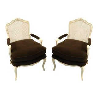 French Style Brown Mohair Chairs - A Pair For Sale