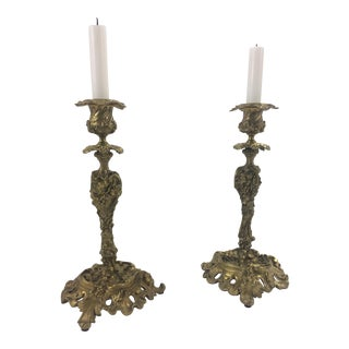 French Rococo Revival Bronze Doré Candlesticks, 1860 - A Pair For Sale