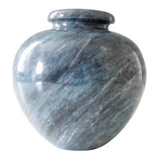 Vintage Blue Marble or Granite Vase Mid Century