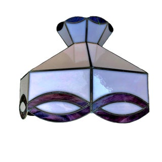 1970s Purple and Pink Tiffany Style Lamp Shade For Sale