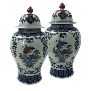 Pair of Chinese Polychrome Ginger Jars For Sale