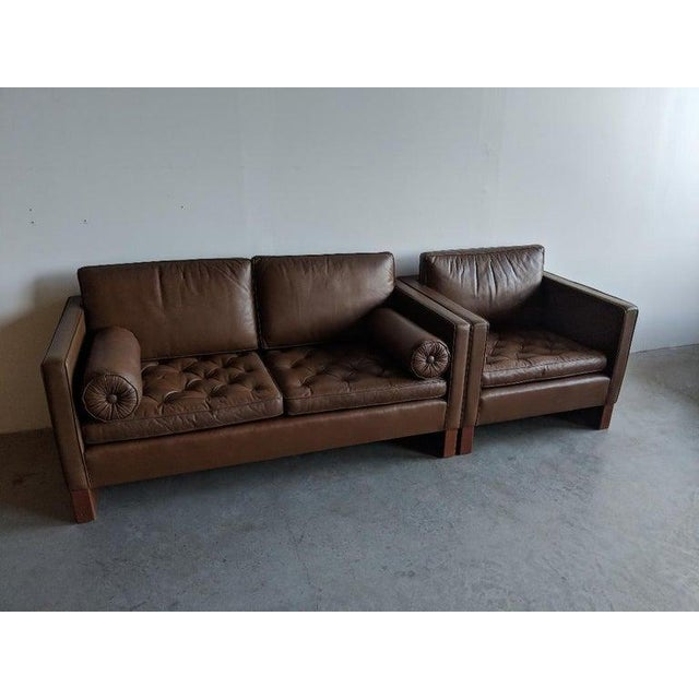 Wood Mies Van Der Rohe Brown Leather Settee for Knoll International For Sale - Image 7 of 11