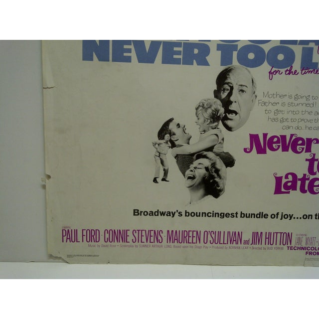 "Vintage Movie Poster ""Never Too Late"" by Paul Ford & Connie Stevens 1965 For Sale - Image 5 of 5"