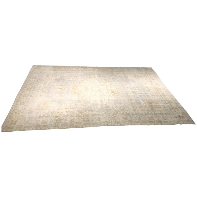 "Distressed Turkish Oushak Rug - 9'5"" X 12'8"" - Image 1 of 9"