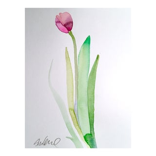 Violet Botanical Tulip Painting For Sale