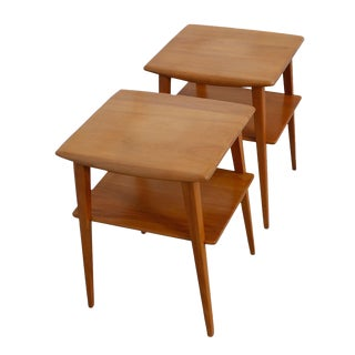 Heywood-Wakefield Side Tables With Shelf - A Pair For Sale