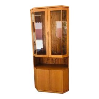 1970s Danish Modern Teak Curio Liquor Cabinet
