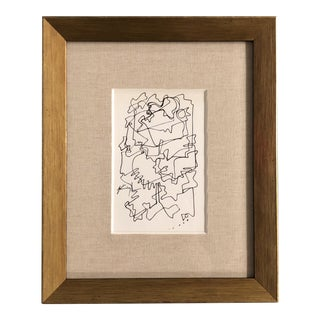 Original Contemporary Wayne Cunningham Small Abstract Ink Drawing Ornate Frame For Sale