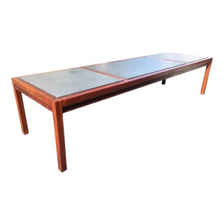 Mid Century Danish Modern Mahogany and Slate Topped Cocktail Table. For Sale