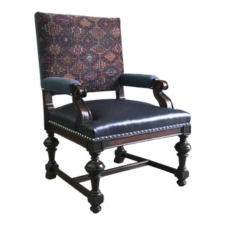 Antique Oak Library Armchair Reupholstered in Leather, Kilim, and Linen For Sale