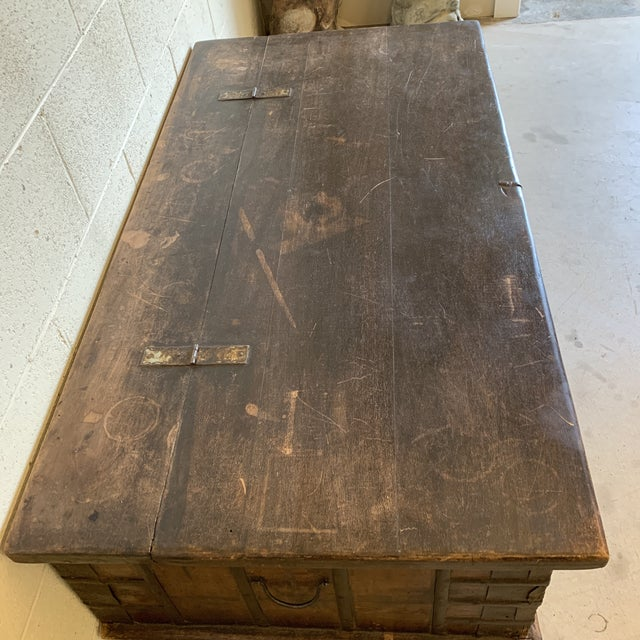 Jodang Strapped Metal Wedding Chest Trunk For Sale - Image 4 of 13
