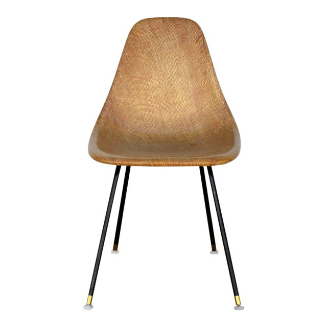 Single Fiberglass Encasted Fabric Mesh Chair by Eames for Herman Miller For Sale