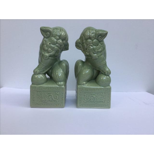 Green Celadon Foo Dogs - A Pair - Image 2 of 6