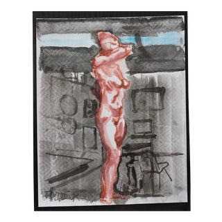 "Contemporary Figurative Acrylic Wash in Black and Red ""Figure With Chair"" by Peter Ruddick For Sale"