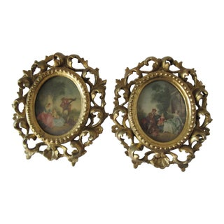Antique Hand Carved Oval Wood Gold Gilt Italian Frames With Prints-2 For Sale