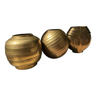 South East Asian / Indian MidCentury Brass Water Urn / Vase - Set of 3 For Sale