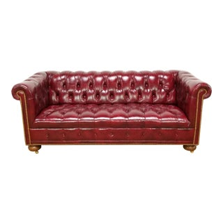 Vintage Mid Century Chesterfield Leather Tufted Sofa For Sale