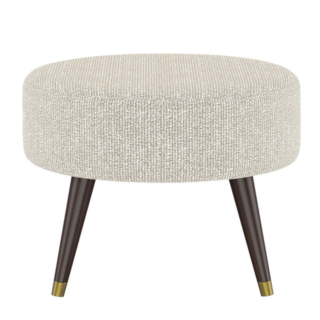 Oval Ottoman in Solitude Natural For Sale
