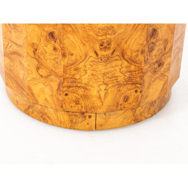Mid-Century Modern Edward Wormley for Dunbar Burl Olive Wood Side Table For Sale In New York - Image 6 of 9