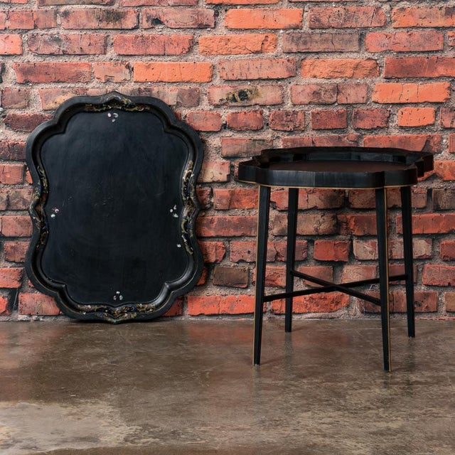 19th Century Folk Art Swedish Small Black Painted Tray Table For Sale - Image 4 of 9