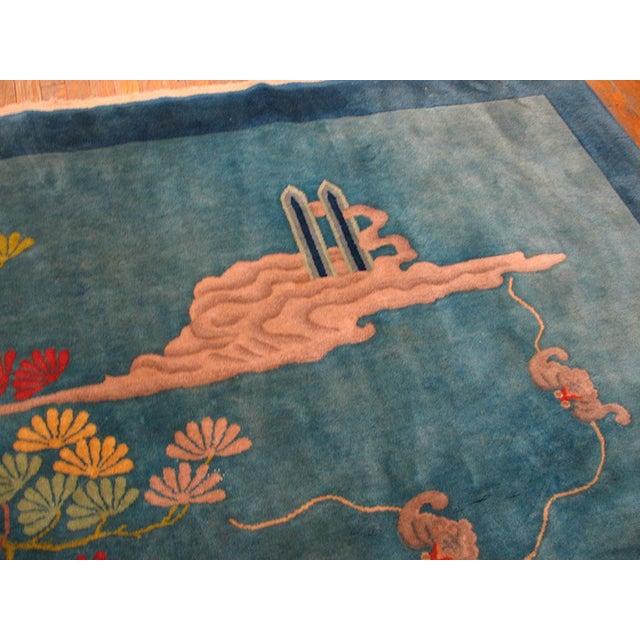 """1920s Antique Chinese Art Deco Rug- 9'0"""" X 11'9"""" For Sale - Image 4 of 6"""