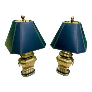 Chapman Hollywood Regency Brass Urn Lamps With Paper Gold Foil Shades - a Pair For Sale
