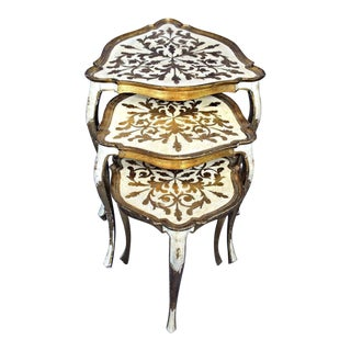 Florentine Italy Papier Mache Gilt Set Nesting Tables - Set of 3 For Sale