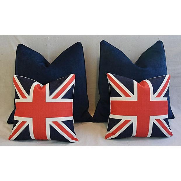 Custom Tailored Blue Velvet & Union Jack Flag Feather/Down Pillows - Set of 4 For Sale - Image 4 of 9