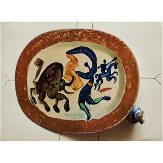 1955 After Pablo Picasso Matador and a Bull Ceramics Plate, Original Period Swiss Lithograph For Sale