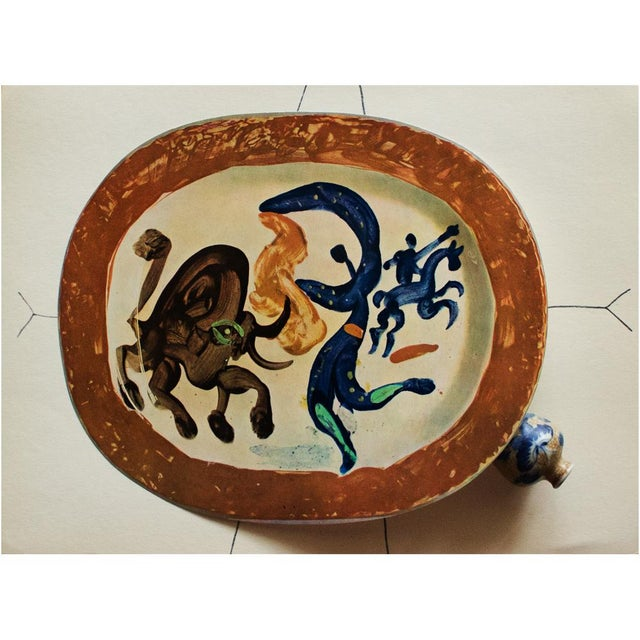 A rare exquisite original period offset lithograph of ceramic plate or charger by Pablo Picasso, depicting Fight Between...