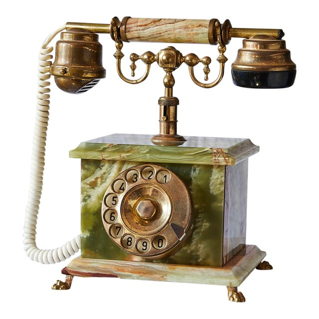 Vintage Italian Green Onyx and Gilded Bronze Telephone For Sale