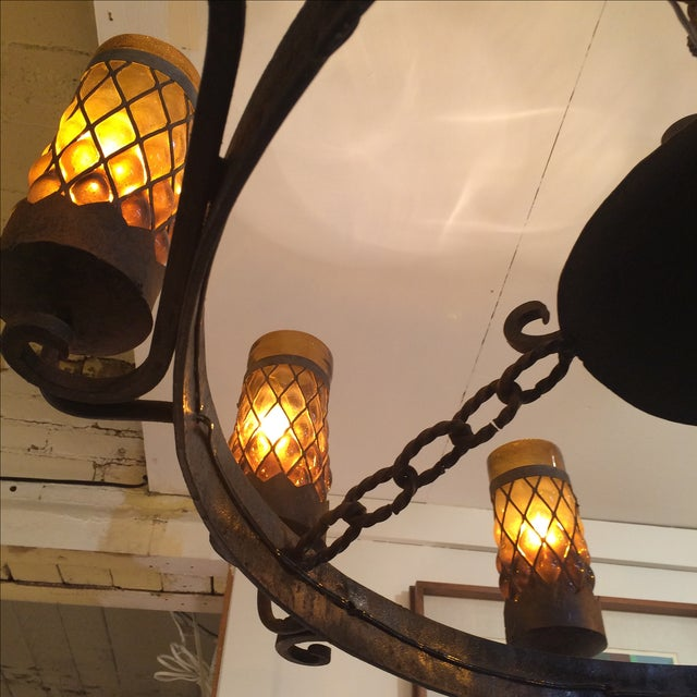 Spanish Revival Wrought Iron Chandelier - Image 6 of 7