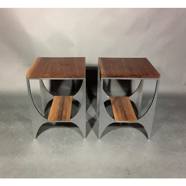 "Contemporary Richard Velloso ""Curves of Grace"" Black Walnut & Steel Side Tables For Sale - Image 3 of 10"