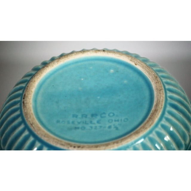 Ceramic Roseville Pottery Turquoise Bowl For Sale - Image 7 of 8